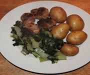 Bouletten mit Kartoffeln und Mangold