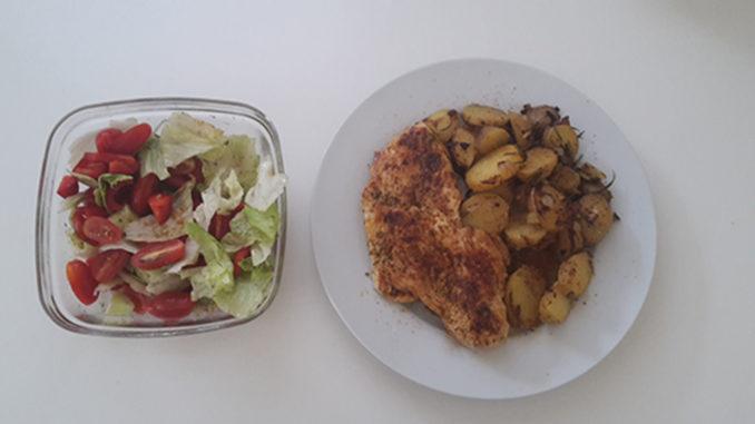 Bratkartoffeln mit Hähnchen und Salat (Rezept mit Bild) auf Kochen-verstehen.de