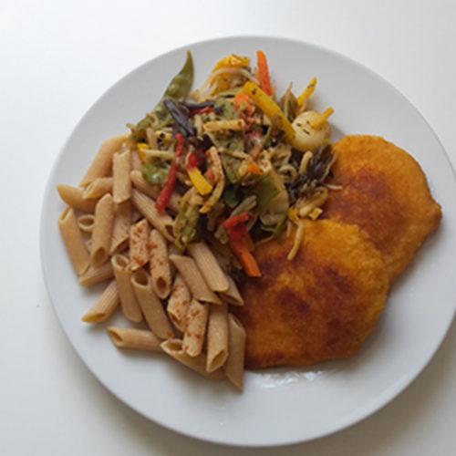 Cordon Bleu mit Vollkornnudeln und Gemüse (Rezept mit Bild) auf Kochen-verstehen.de