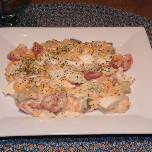 Eiersalat mit Mais und Tomate auf Kochen-verstehen.de