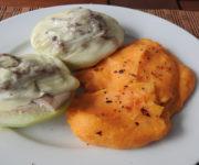 Gefüllter Kohlrabi mit Süßkartoffelbrei