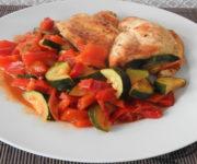 Hähnchen mit Zucchini und Paprika