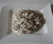 Haferflocken mit Chia-Samen und Frischkäse