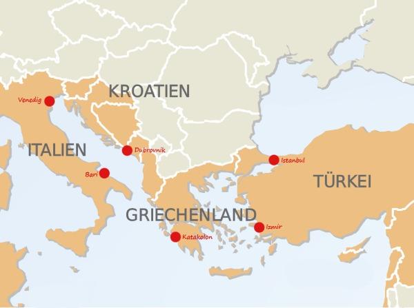 Kreuzfahrt und Städtetrip vonVenedig nach Instanbul