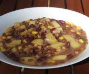 Linseneintopf mit Kartoffeln und Bohnen