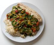 Pangasiusfilet mit Reis und Italienischem Gemüse