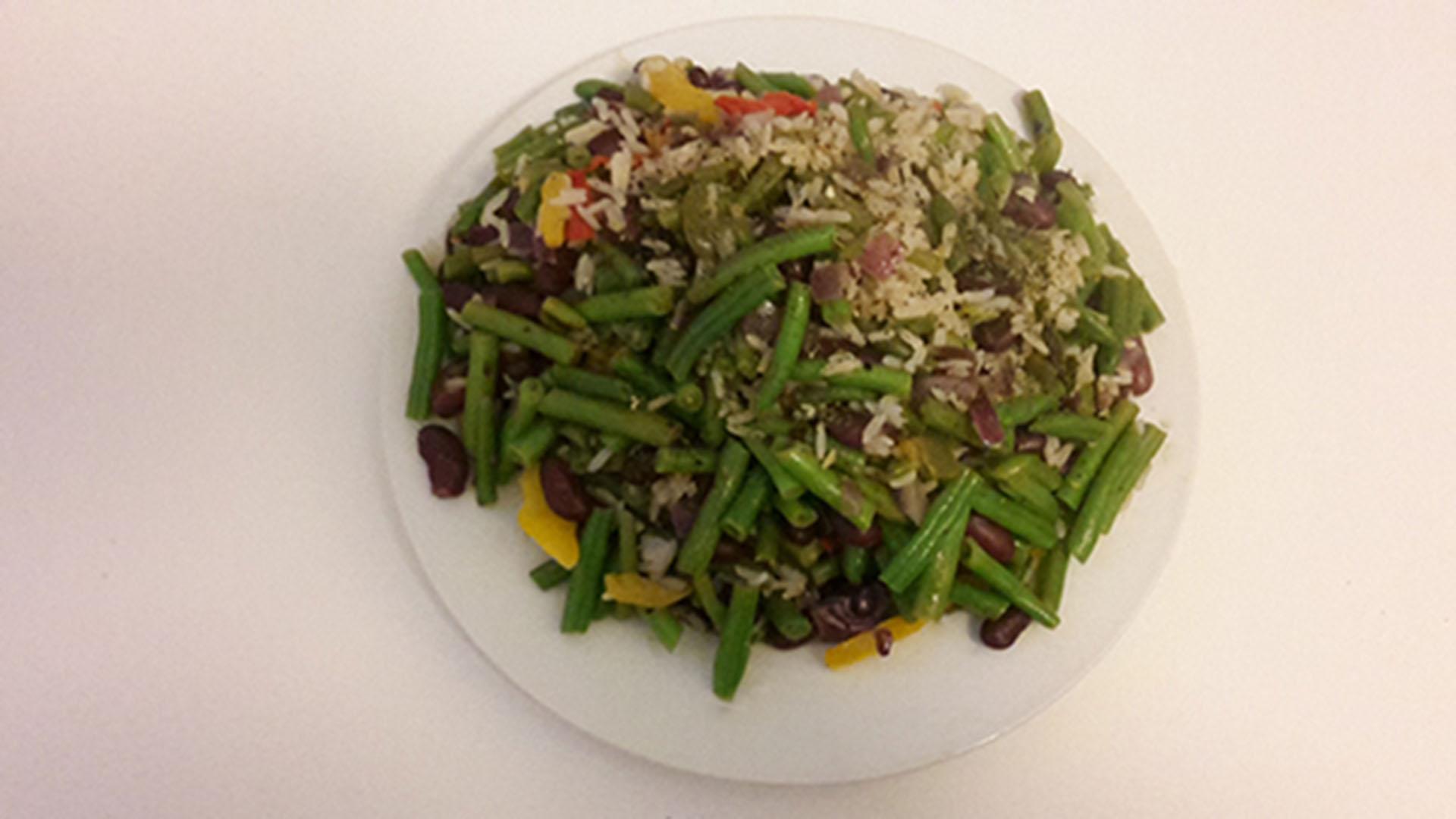 Reis mit Grünen- und Kidneybohnen