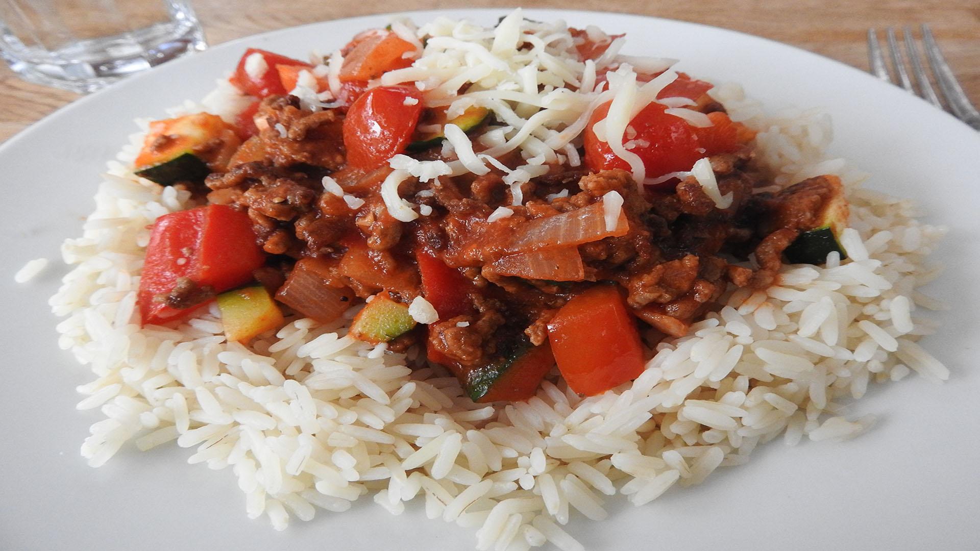 Reis mit Hackfleischsauce auf Kochen-verstehen.de