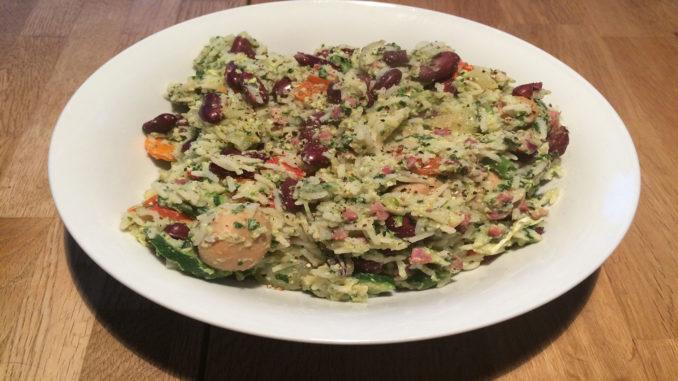 Reispfanne mit Schinken und Bohnen auf Kochen-verstehen.de
