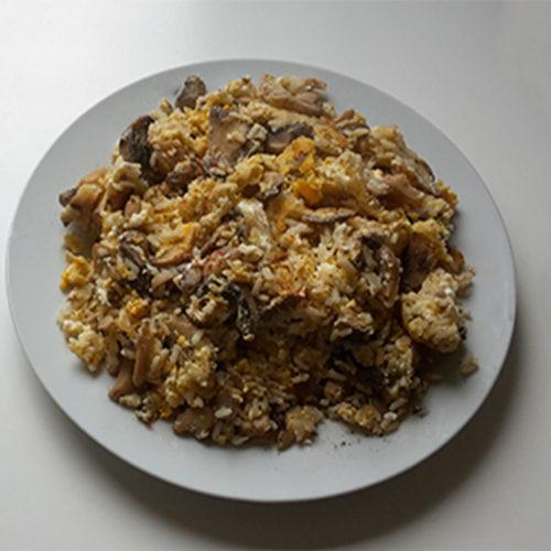Rührei-Pfanne mit Pilzen und Reis (Rezept mit Bild) auf Kochen-verstehen.de